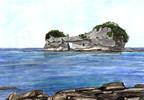 Aquarellmalerei, Wasser, Stein, Blau