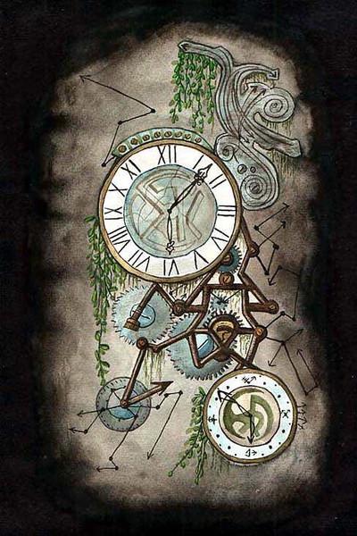 Blätter, Zeiger, Technik, Aquarellmalerei, Uhr, Aquarell