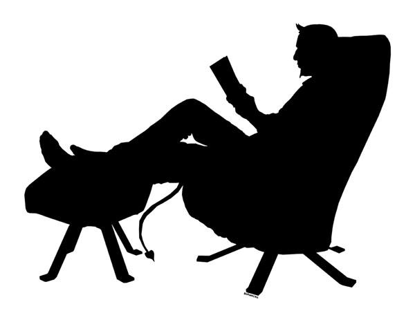 Schwarz weiß, Entspannen, Scherenschnitt, Teufel, Sessel, Buch
