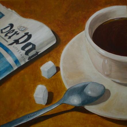 Stillleben, Acrylmalerei, Kaffee, Braun, Malerei, Löffel