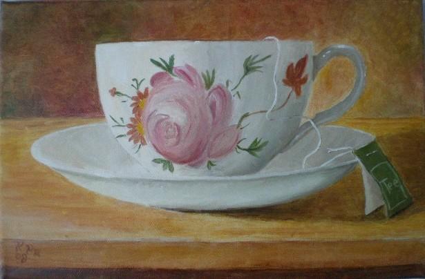 Stillleben, Braun, Tee, Tasse, Rosa, Ölmalerei