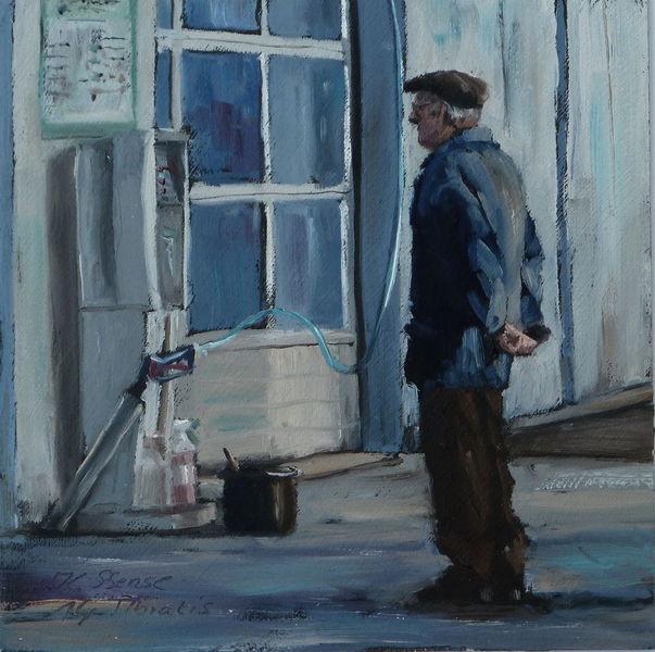 Alter mann, Waschen, Warten, Auto, Mütze, Stadtlandschaft