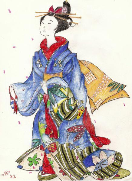 Geisha, Japanisches motiv, Zeichnungen, Menschen