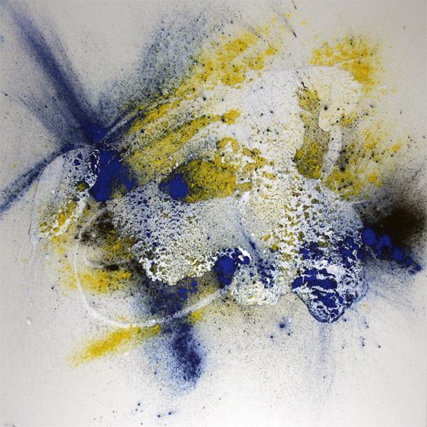Fantasie, Abstrakt, Gelb, Malerei, Blau, Schwarz weiß