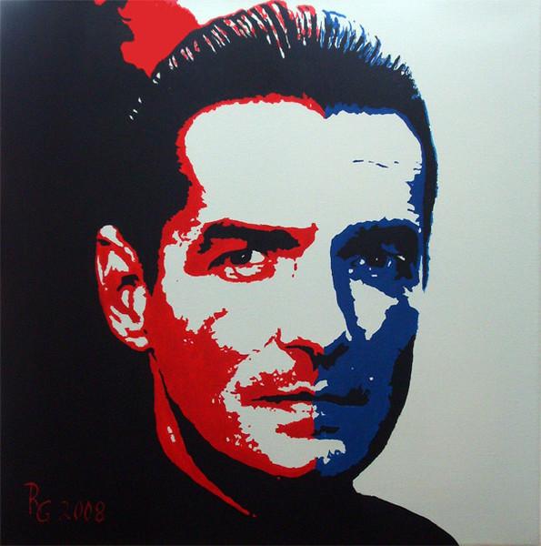 Acrylmalerei, Menschen, Blau, Kopf, Falco, Pop art