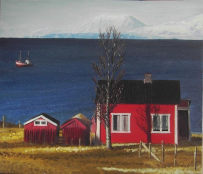 Malerei, Landschaft, Meer, Haus, Berge, Norwegen