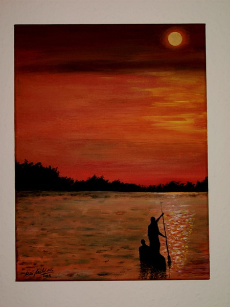 Abendstimmung, Mediterran, Sonnenuntergang, Boot, Malerei, Ufer