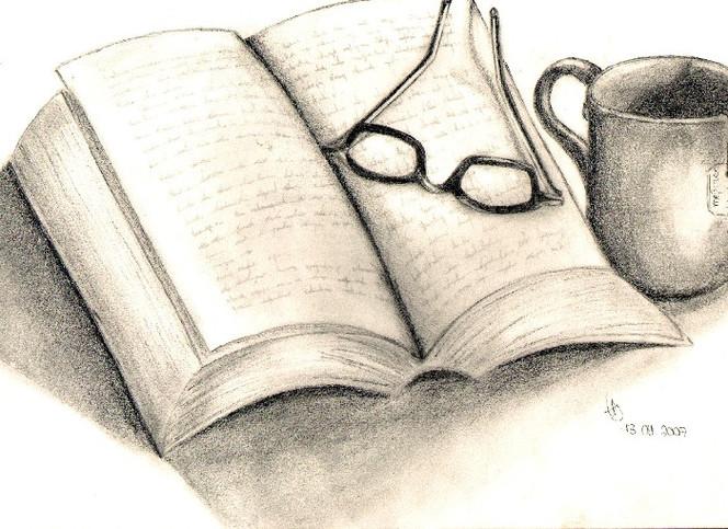 Buch, Stillleben, Zeichnungen, Lesen