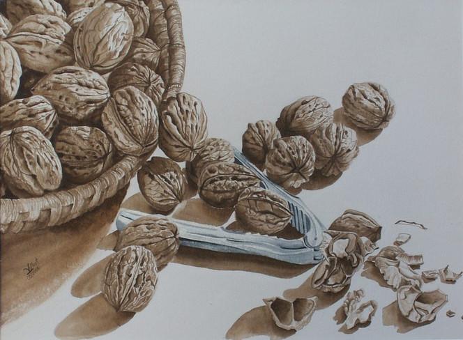 Nüsse, Malerei, Stillleben,