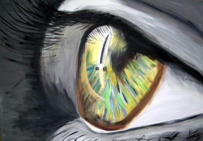 Schwarzweiß, Grün, Augen, Malerei, Portrait,