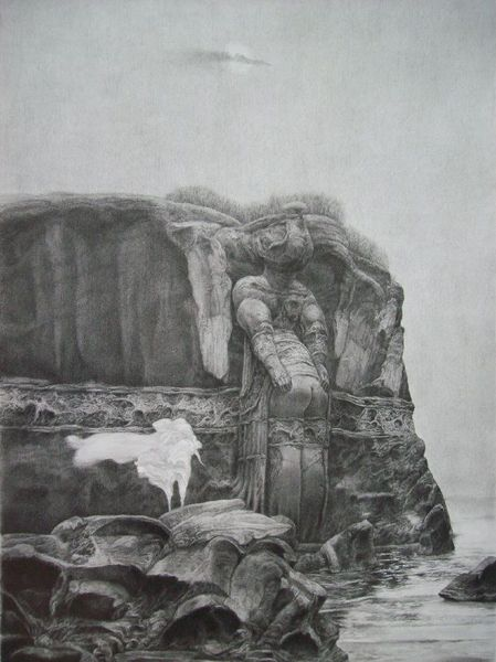 Landschaft surreal zeichnung, Zeichnungen, Felsen