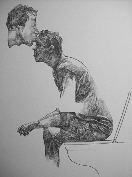 Toilette, Surreal, Kuss, Zeichnung, Menschen, Zeichnungen