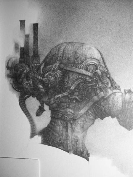 Gasmaske, Horror, Skizze, Surreal, Makaber, Schraffur