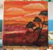 Serengeti, Landschaft, Baum, Ölmalerei