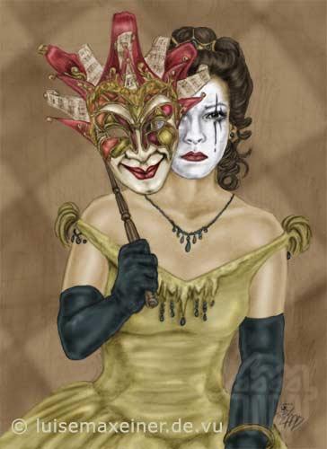 Venedig, Venezia, Maske, Rosso, Karneval, Harlekin