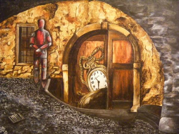 Surreal, Wesen, Uhr, Menschen, Mauerwerk, Malerei