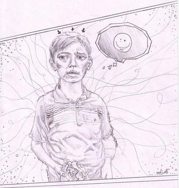 Portrait, Pommes, Zeichnung, Essen, Bleistiftzeichnung, Junge
