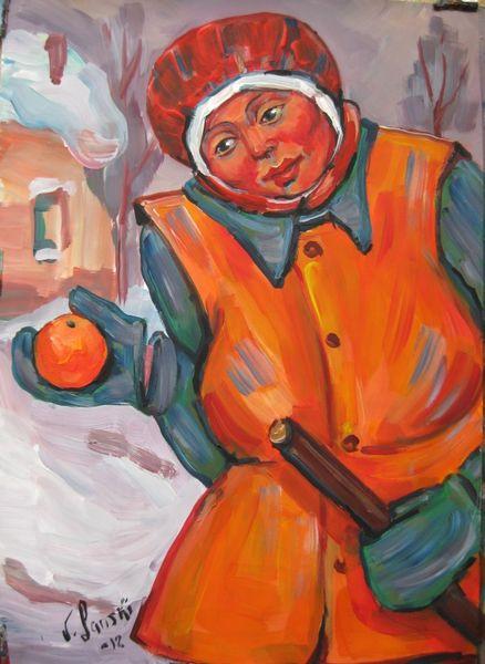 Malerei, Menschen, Mädchen, Orange