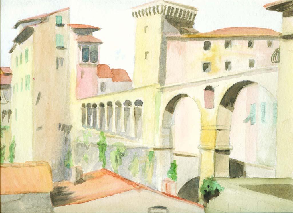 Bild toskana reise architektur aquarellmalerei von for Architektur aquarell