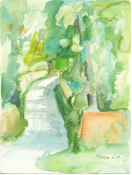 Toskana, Skizze, Aquarellmalerei, Landschaft, Reise, Aquarell