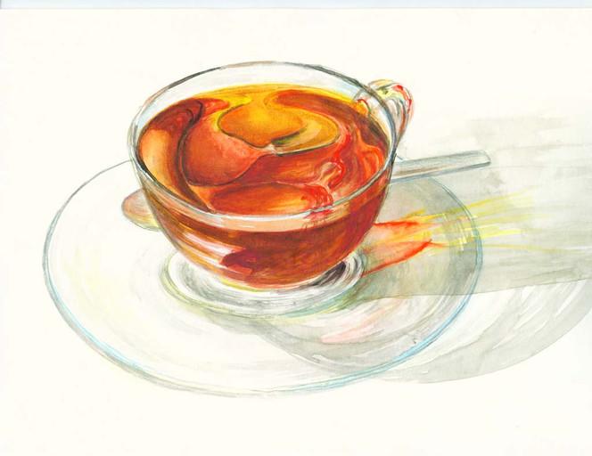 Tee, Rot, Stillleben, Transparenz, Aquarellmalerei, Rund