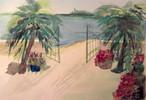 Palmen, Strand, Malerei