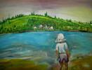 Wasser, Junge, Landschaft, Sommer