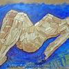 Holz, Ölmalerei, Liegen, Liegend