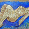 Holz, Ölmalerei, Akt, Liegen