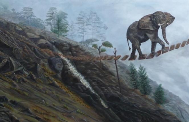 Elefant, Wolken, Acrylmalerei, Bach, Holz, Landschaft
