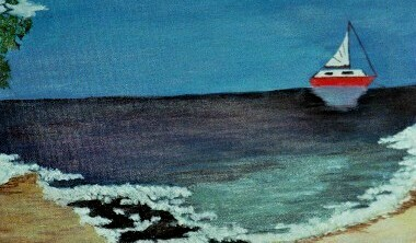 Meer, Yacht, Malerei, Stille, Brandung