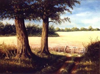 Ölmalerei, Malerei, Weg, Kornfeld,