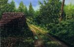 Landschaft, Malerei, Regen, Waldweg