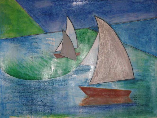 Meer, Winter, Pastellmalerei, Abstrakt, Boot, Acrylmalerei