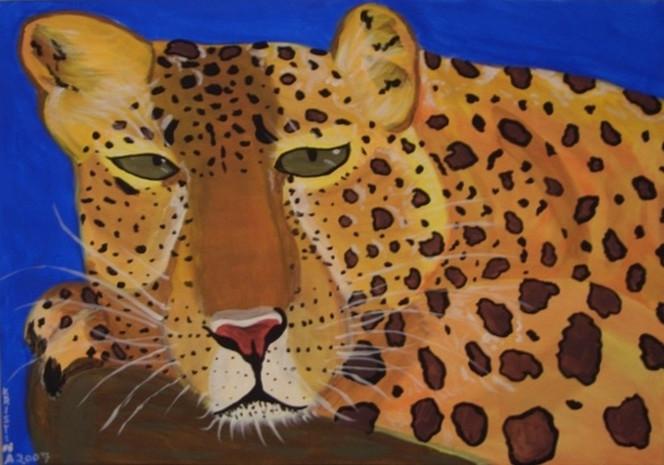Acrylmalerei, Leopard, Tiere, Malerei