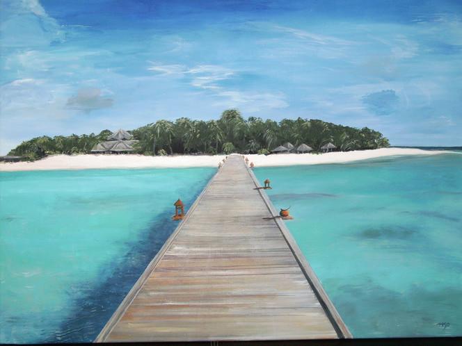 Acrylmalerei, Strand, Landschaft, Südsee, Meer, Palmen