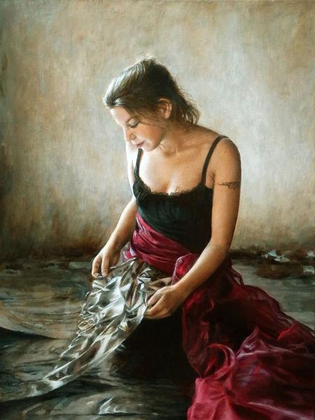 Folie, Realisitsch, Reflexion, Hände, Gesichtm rot, Malerei