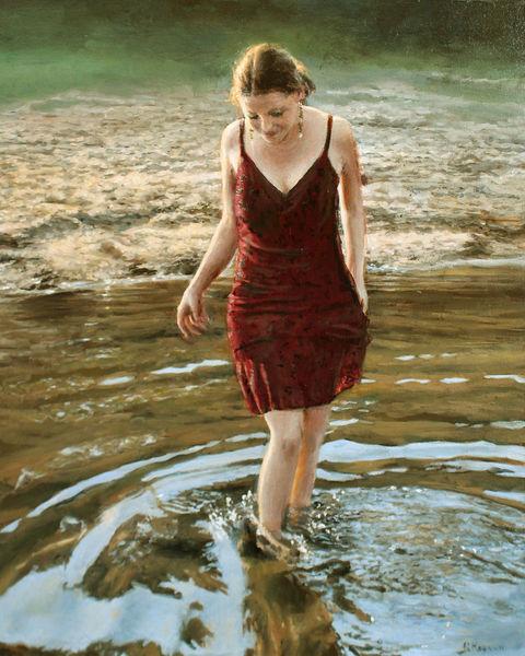 Kleid, Strand, Gesicht, Reflexion, Junge frau, Welle