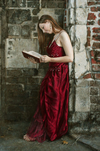 Buch, Karminrot, Kleid, Junge, Frau, Mauer