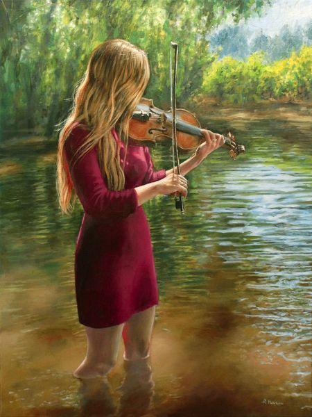 Violine, Realismus, Frau, Wasser, Rot, Kleid
