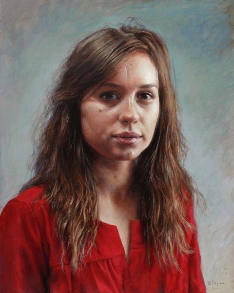 Licht, Frau rot, Portrait, Auftrag, Fotorealismus, Malerei
