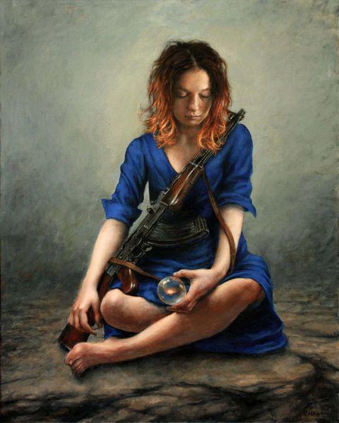 Gewehr, Kleid, Fotorealismus, Frau, Ölmalerei, Blau
