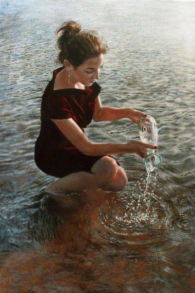 Junge frau, Tropfen, Wasser, Kleid, Welle, Fluss