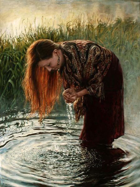 Welle, Wasser, Haare, Junge frau, Reflexion, Malerei