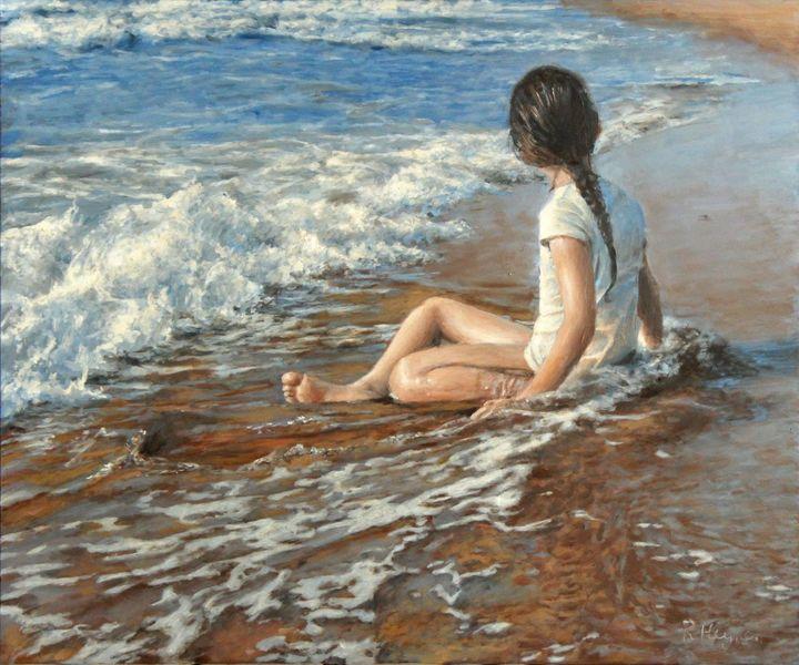 Ölmalerei, Kind, Küste, Strand, Meer, Fotorealismus