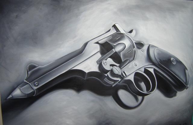 Waffe, Schwarz, Surreal, Dungen, Weiß, Malerei