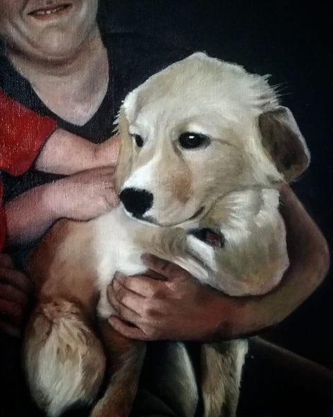 Portrait, Hund, Ölmalerei, Figurativ, Malerei, Arbeit