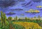 Feld, Wolken, Landschaft, Sonnenblumen