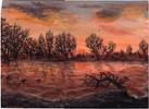 Malerei, Winterlandschaft, Landschaft, Sonnenuntergang