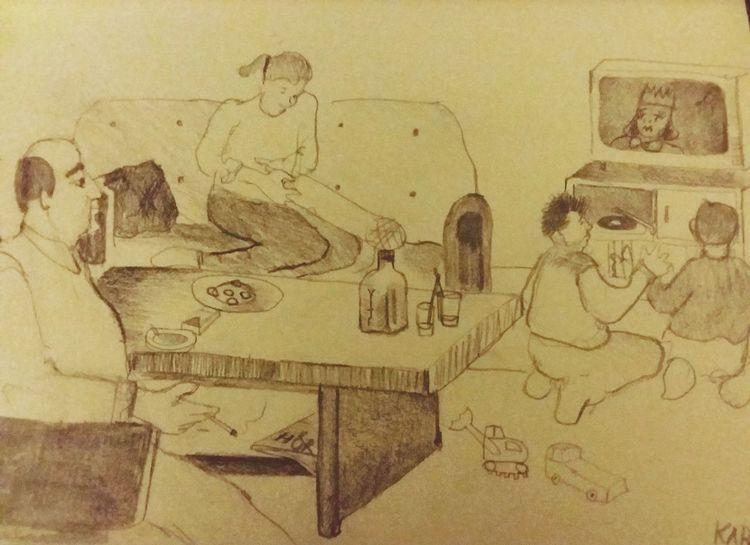 Familie, Leben, Kinder, Illustrationen,